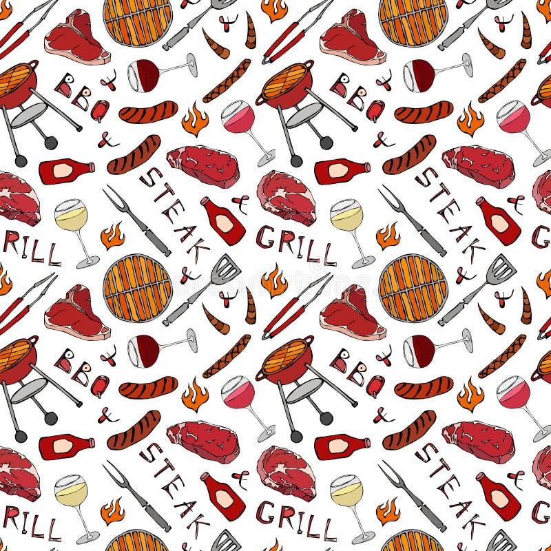 Nahtloses Muster der Sommer BBQ-Grill-Partei Glas des Rotes, der Rose und der weißen Rebe, Steak, Wurst, Grill-Gitter, Zangen, Ga vektor abbildung