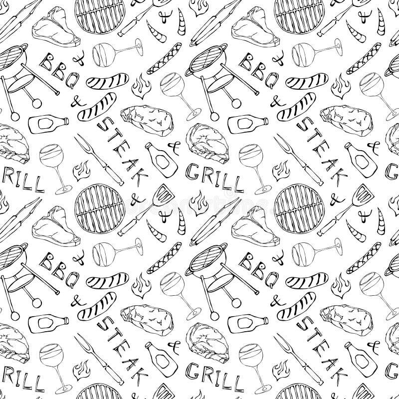 Nahtloses Muster der Sommer BBQ-Grill-Partei Glas Rot, Rose und Weißwein, Steak, Wurst, Grill-Gitter, Zangen, Gabel, Feuer, K vektor abbildung