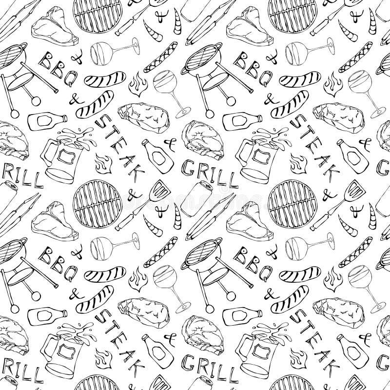 Nahtloses Muster der Sommer BBQ-Grill-Partei Glas Rot, Weißwein, Steak, Wurst, Grill-Gitter, Zangen, Gabel Hand gezeichnetes vect stock abbildung