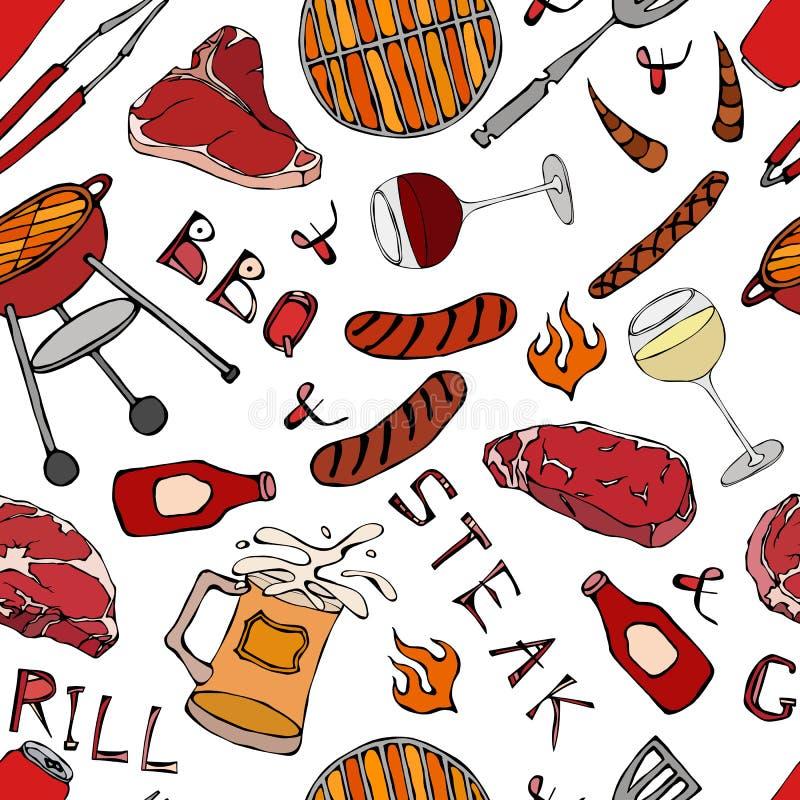 Nahtloses Muster der Sommer BBQ-Grill-Partei Glas von rotem, weißem VineSteak, Wurst, Grill-Gitter, Zangen, Gabel Hand gezeichnet vektor abbildung