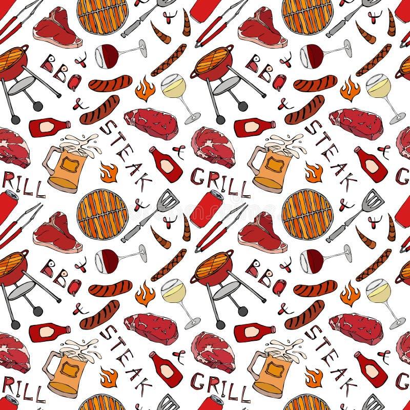 Nahtloses Muster der Sommer BBQ-Grill-Partei Glas von rotem, weißem VineSteak, Wurst, Grill-Gitter, Zangen, Gabel Hand gezeichnet stock abbildung