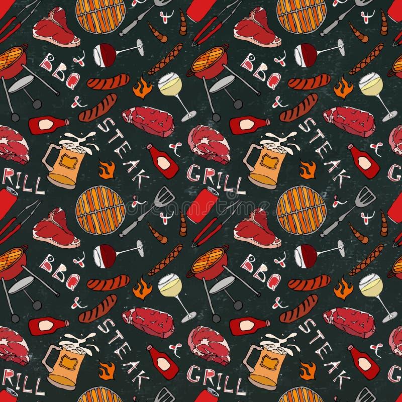 Nahtloses Muster der Sommer BBQ-Grill-Partei Glas von rotem, weißem VineSteak, Wurst, Grill-Gitter, Zangen, Gabel Schwarzes Brett stock abbildung