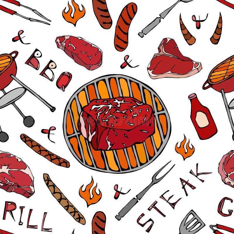 Nahtloses Muster der Sommer BBQ-Grill-Partei Große Leiste Mignon Steak, Wurst, Grill-Gitter, Zangen, Gabel, Feuer, Ketschup Hand  stock abbildung