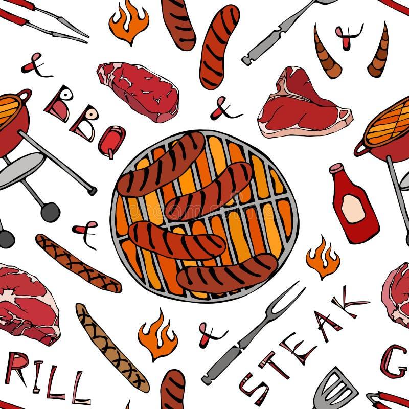 Nahtloses Muster der Sommer BBQ-Grill-Partei Große Würste, Grill-Gitter, Zangen, Gabel, Feuer, Ketschup Hand gezeichnetes Vektor  stock abbildung