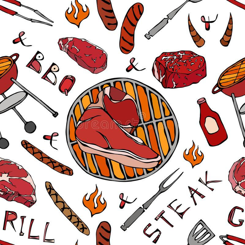 Nahtloses Muster der Sommer BBQ-Grill-Partei Großes Porterhouse-Steak, Wurst, Grill-Gitter, Zangen, Gabel, Feuer, Ketschup Hand g vektor abbildung