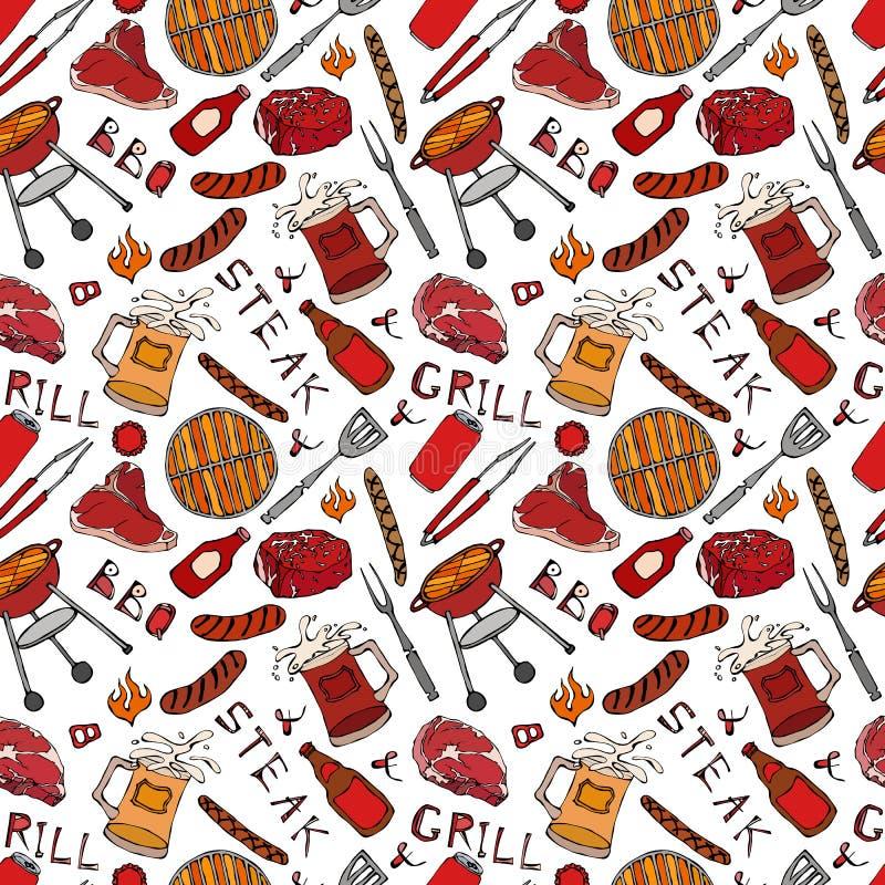 Nahtloses Muster der Sommer BBQ-Grill-Partei Steak, Wurst, Grill-Gitter, Zangen, Gabel, Feuer, Ketschup Hand gezeichnetes Vektor  vektor abbildung