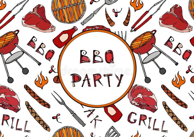 Nahtloses Muster der Sommer BBQ-Grill-Partei Steak, Wurst, Grill-Gitter, Zangen, Gabel, Feuer, Ketschup Hand gezeichnetes Vektor  lizenzfreie abbildung