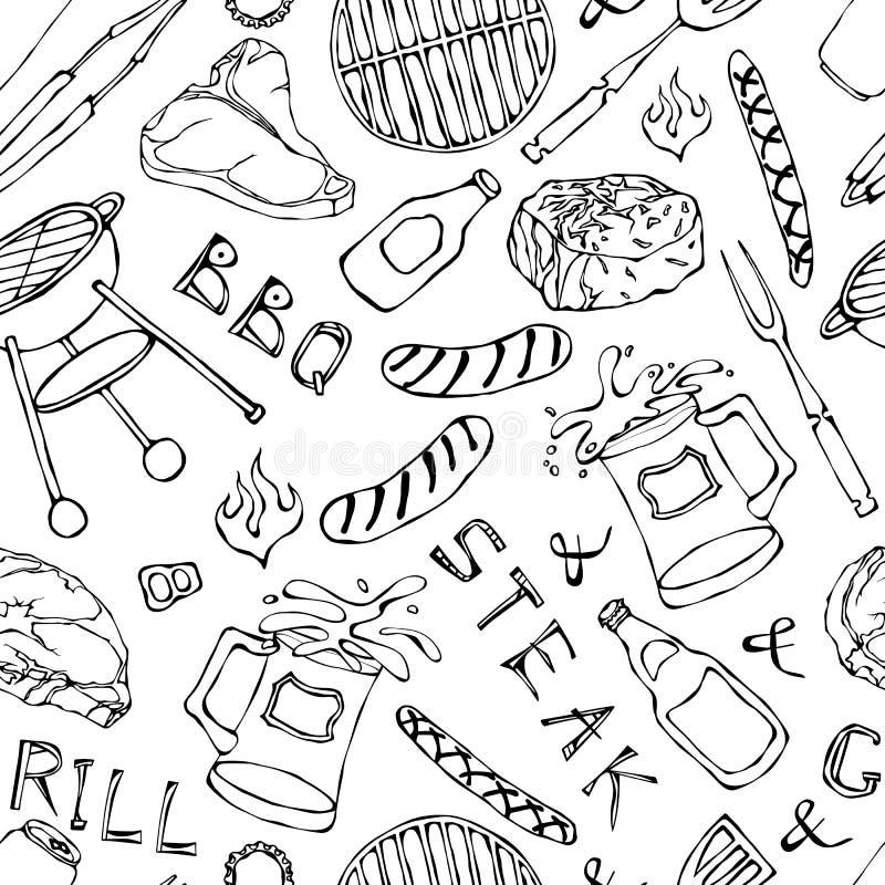 Nahtloses Muster der Sommer BBQ-Grill-Partei Steak, Wurst, Grill-Gitter, Zangen, Gabel, Feuer, Ketschup Hand gezeichnetes Vektor  stock abbildung