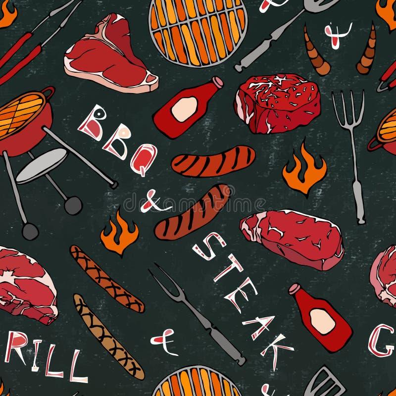 Nahtloses Muster der Sommer BBQ-Grill-Partei Steak, Wurst, Grill-Gitter, Zangen, Gabel, Feuer, Ketschup Schwarzer Brett-Hintergru lizenzfreie abbildung