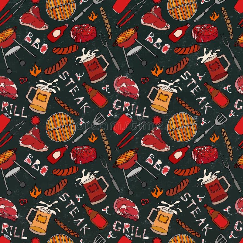Nahtloses Muster der Sommer BBQ-Grill-Partei Steak, Wurst, Grill-Gitter, Zangen, Gabel, Feuer, Ketschup Schwarzer Brett-Hintergru vektor abbildung