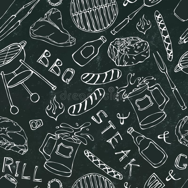 Nahtloses Muster der Sommer BBQ-Grill-Partei Steak, Wurst, Grill-Gitter, Zangen, Gabel, Feuer, Ketschup Schwarzer Brett-Hintergru stock abbildung