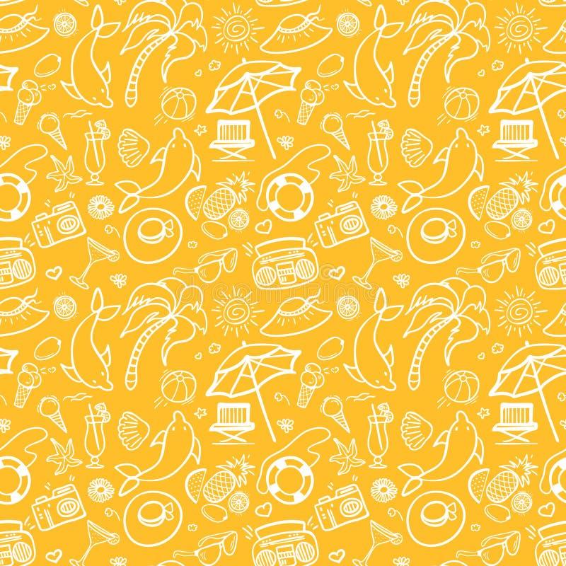 Nahtloses Muster der Sommerferien vektor abbildung