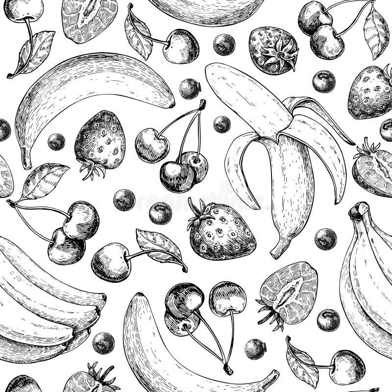 Nahtloses Muster der Sommerfrucht Hand gezeichneter Weinlesevektorhintergrund Frucht- und Beerensatz der Banane, Kirsche, srawber lizenzfreie abbildung