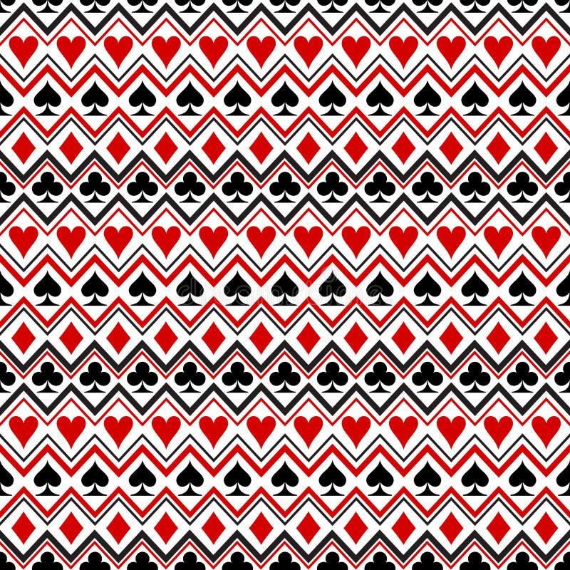 Nahtloses Muster der Spielkarteklagensymbole lizenzfreie abbildung