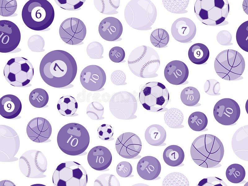 Nahtloses Muster der Sportkugeln stock abbildung