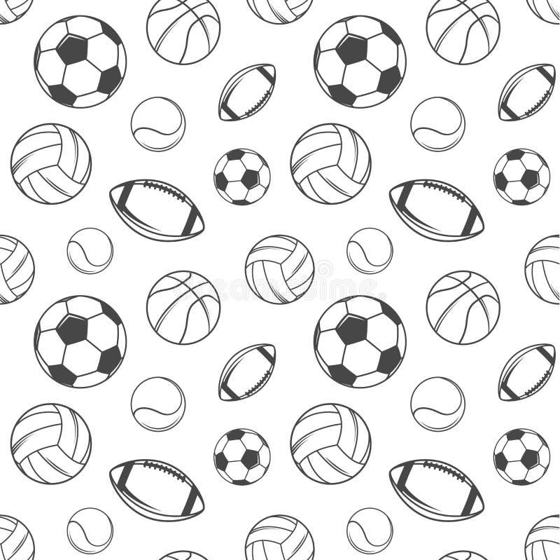 Nahtloses Muster der Sportkugeln lizenzfreie abbildung