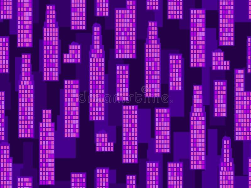 Nahtloses Muster der Stadt Ð-¡ ityscape, Wolkenkratzer Retro- futuristisches Moderner Tendenzhintergrund Vektor lizenzfreie abbildung
