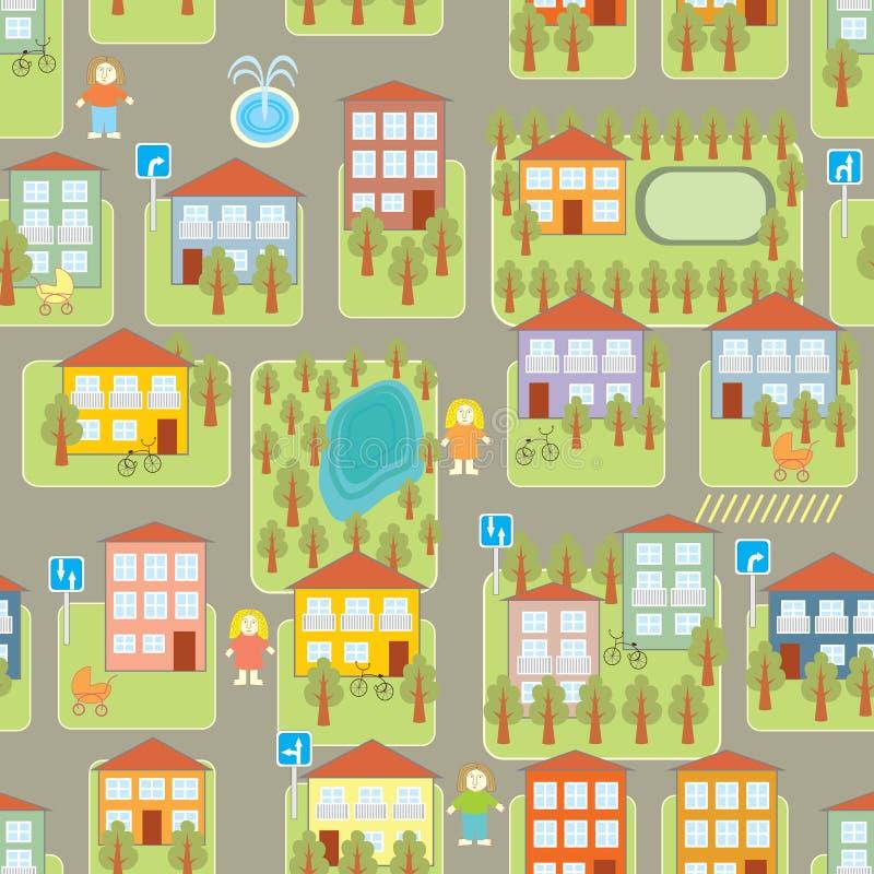 Nahtloses Muster der Stadtillustration vektor abbildung