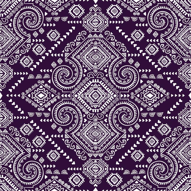 Nahtloses Muster der Stammes- aztekischen Weinlese vektor abbildung