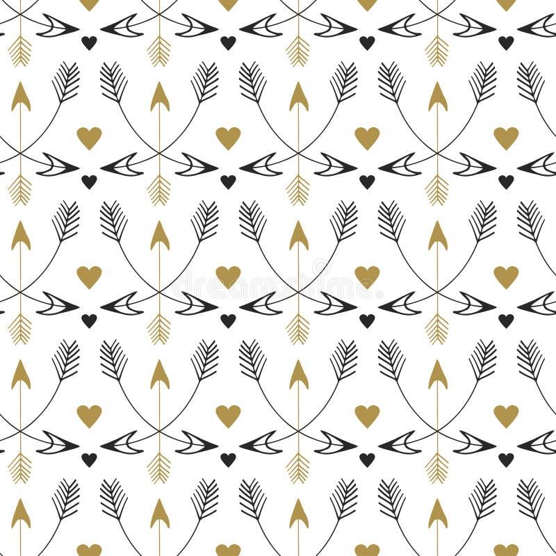 Nahtloses Muster der Stammes- Pfeile Vektordruckdesign in der ethnischen Art Weinlesegold und schwarzes Muster lizenzfreie abbildung