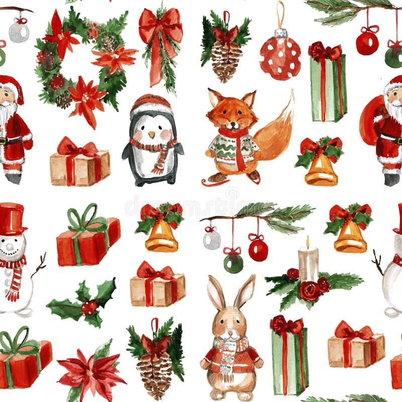 Nahtloses Muster der Stechpalmen-lustiges frohen Weihnachten vektor abbildung