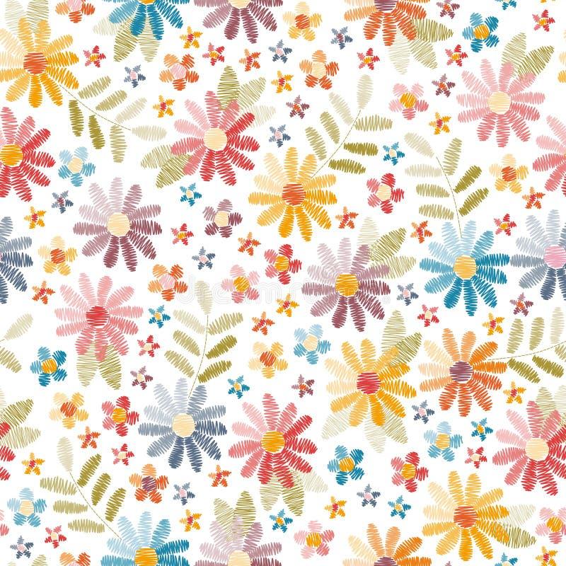 Nahtloses Muster der Stickerei Schöne Blumen und Blätter lokalisiert auf weißem Hintergrund Bunte Stickerei lizenzfreie abbildung