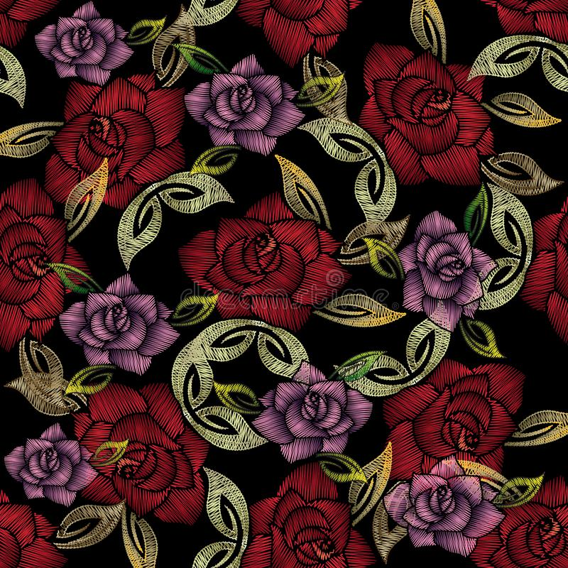 Nahtloses Muster der Stickereirosen Vektor aufwändiges mit Blumenbackgrou stock abbildung