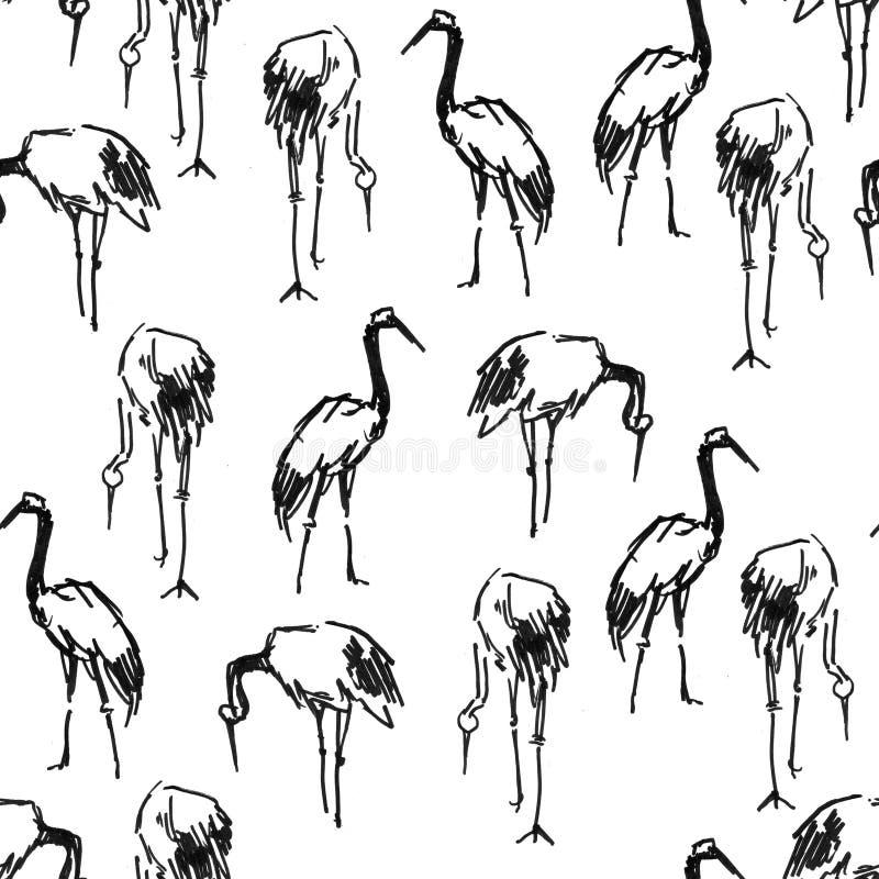 Nahtloses Muster der Storch-Reiherkranstift-Skizze lizenzfreie abbildung