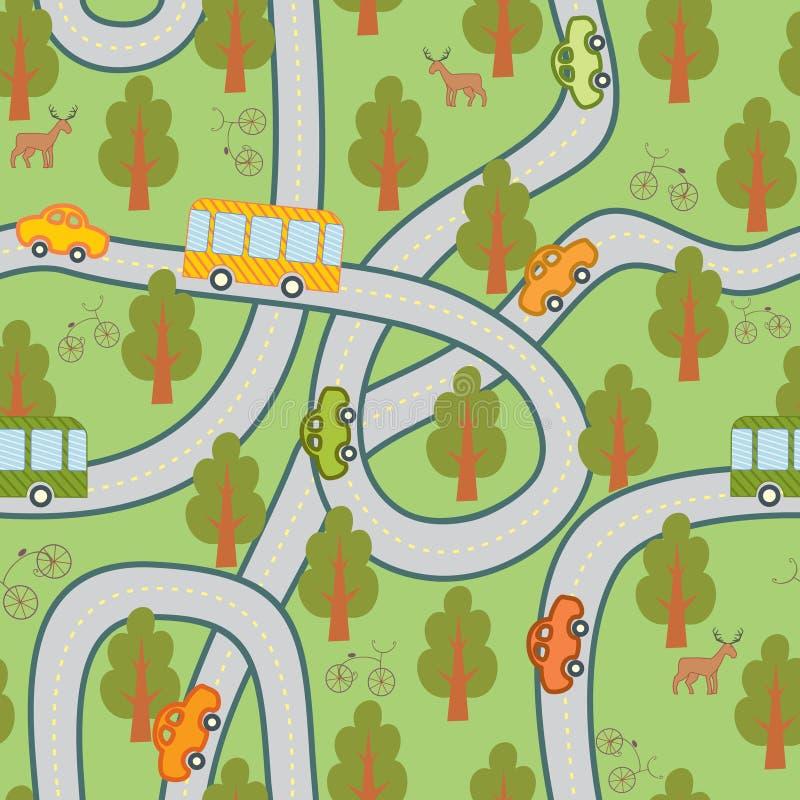 nahtloses Muster der Straße im Wald lizenzfreie abbildung