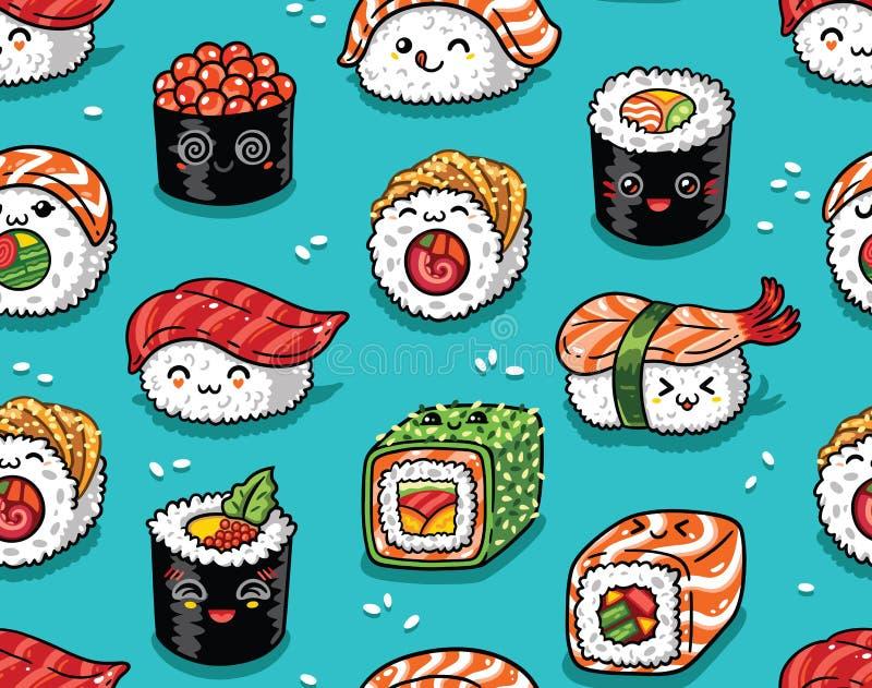 Nahtloses Muster der Sushi und des Sashimis in kawaii Art Auch im corel abgehobenen Betrag vektor abbildung