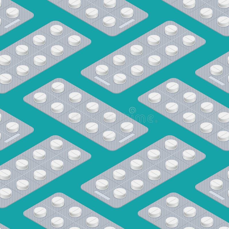 Nahtloses Muster der Tablet-Blase medizinischer Pillenhintergrund arzt lizenzfreie abbildung