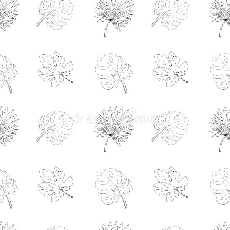 Nahtloses Muster der tropischen Blätter Feige, monstera, Palme stock abbildung