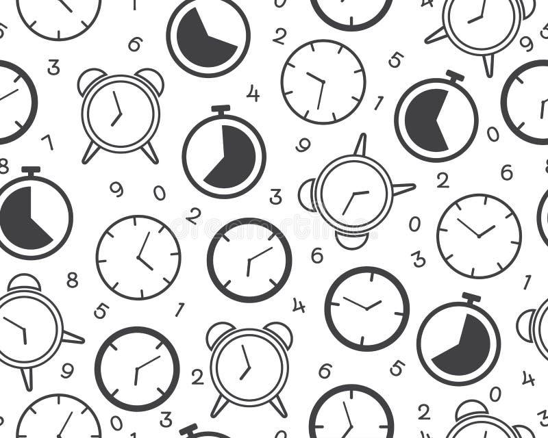 Nahtloses Muster der Uhrtimer-Ikone mit Zahl auf weißem Hintergrund stock abbildung