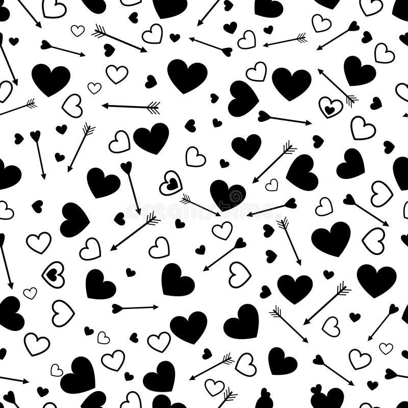 Nahtloses Muster der Valentinsgrußherz-Liebe mit Pfeilen stock abbildung