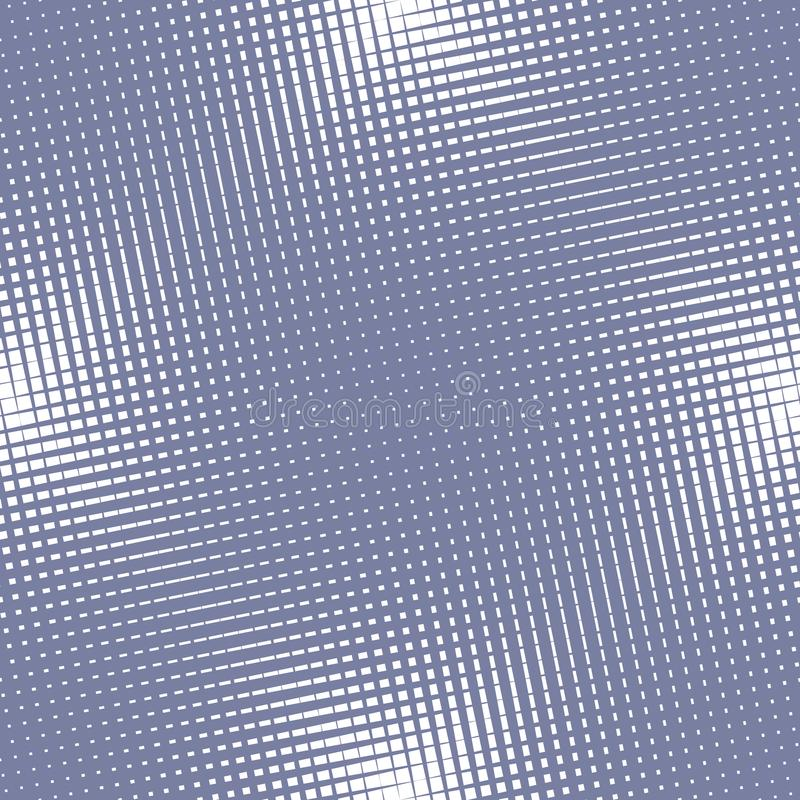 Nahtloses Muster der Vektorhalbtonmasche Blaue und weiße Querlinie, quadratisches Gitter stock abbildung