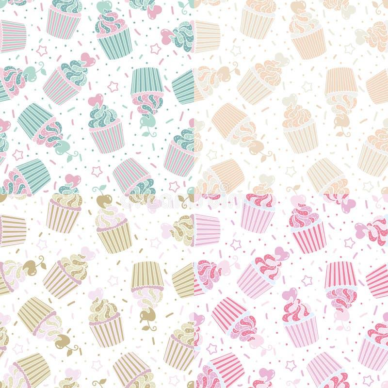 Nahtloses Muster der Vektorillustration von netten kleinen Kuchen lizenzfreies stockfoto