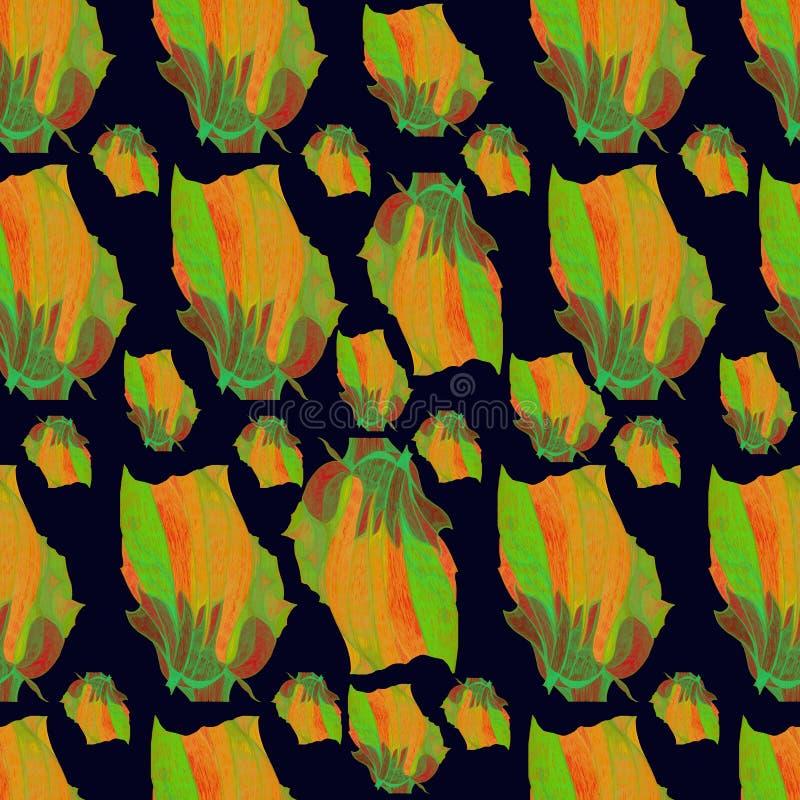 Nahtloses Muster der Vektortulpen in der Orange, grüner, brauner, einfacher schwarzer Hintergrund vektor abbildung