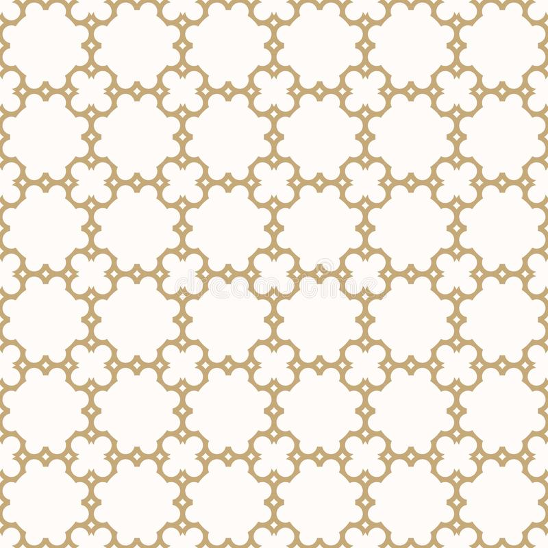 Nahtloses Muster der Vektorzusammenfassung in der arabischen Art Gold und weißes Gitter, Gitter stock abbildung