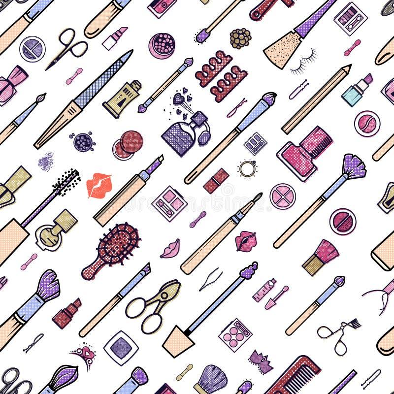 Nahtloses Muster der Verfassung Illustrationen von verschiedenen Kosmetik Lippenstift und Pomade, Bürsten für bilden Zauber Vekto vektor abbildung