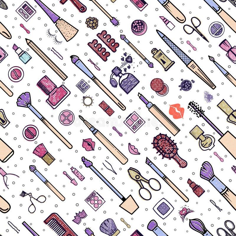 Nahtloses Muster der Verfassung Illustrationen von verschiedenen Kosmetik Lippenstift und Pomade, Bürsten für bilden Zauber Vekto stock abbildung