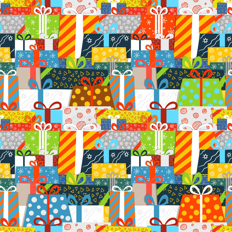 Nahtloses Muster der verschiedenen Geschenkboxen stock abbildung