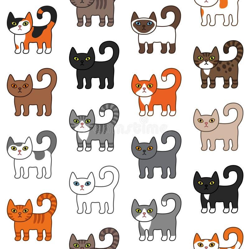 Nahtloses Muster der verschiedenen Katzen Unterschiedliche Katzenzucht der netten und lustigen Karikaturmiezekatzekatzenvektorill vektor abbildung