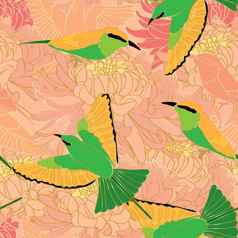 Nahtloses Muster der Vogelbienenfresser-Chrysantheme stock abbildung