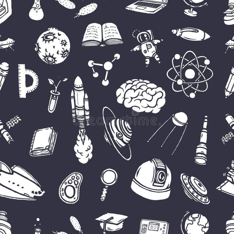 Nahtloses Muster der von Hand gezeichneten wissenschaftlichen Gekritzel lizenzfreie abbildung