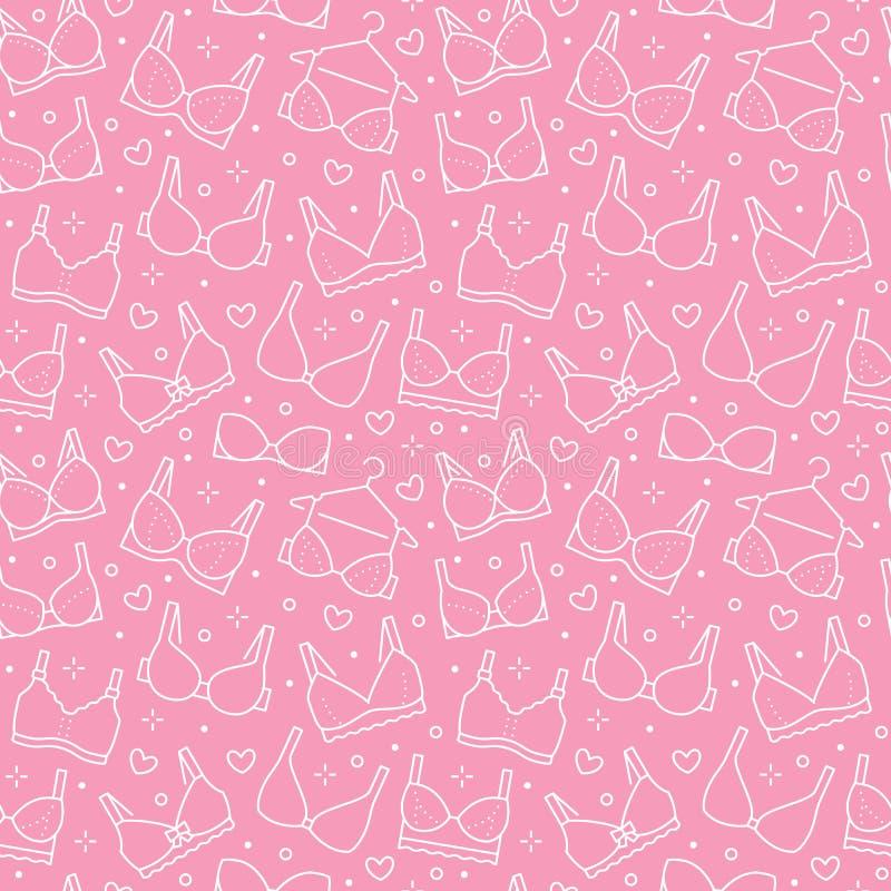 Nahtloses Muster der Wäsche mit flacher Linie Ikonen von BHarten Frauenunterwäschehintergrund, Vektorillustrationen von lizenzfreie abbildung