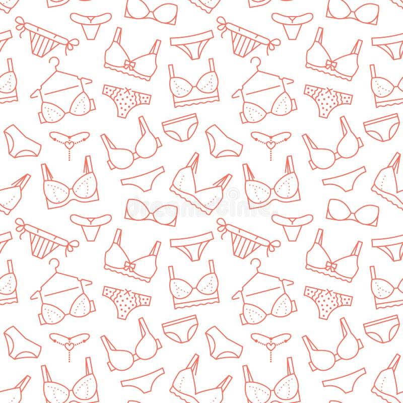Nahtloses Muster der Wäsche mit flacher Linie Ikonen von BHarten, Schlüpfer Frauenunterwäschehintergrund, Vektorillustrationen vektor abbildung