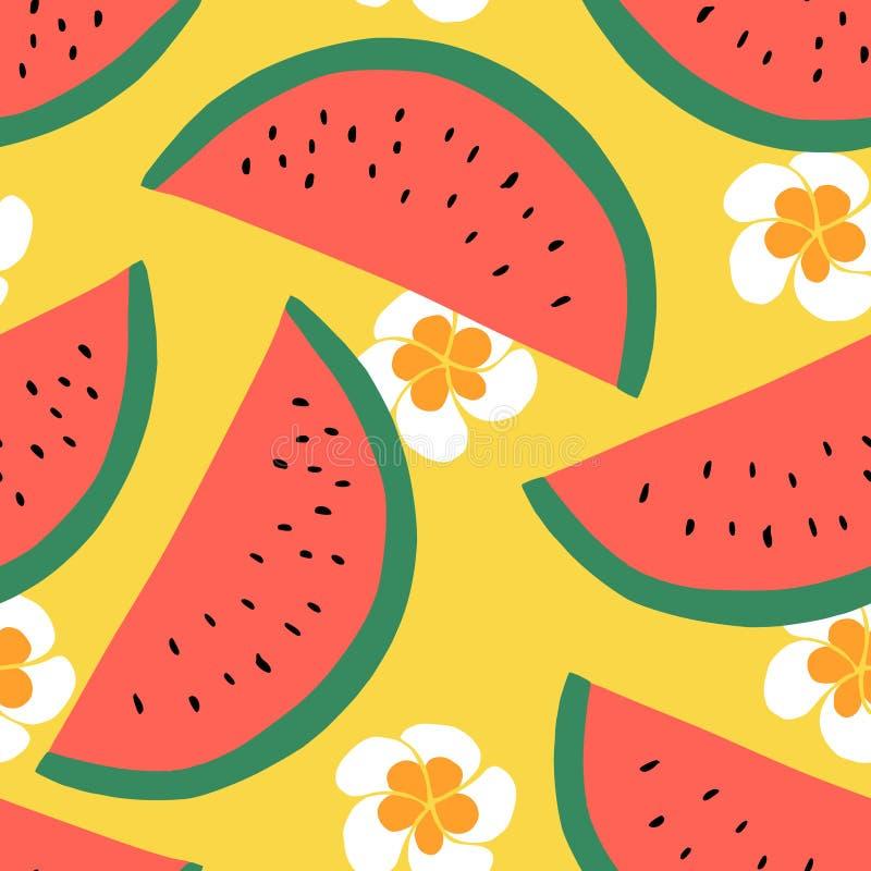 Nahtloses Muster der Wassermelone, Sommertextildesign mit Frucht und Blumen lizenzfreie abbildung