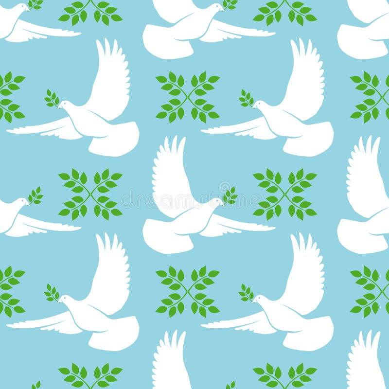 Nahtloses Muster der Weiß-Taube vektor abbildung