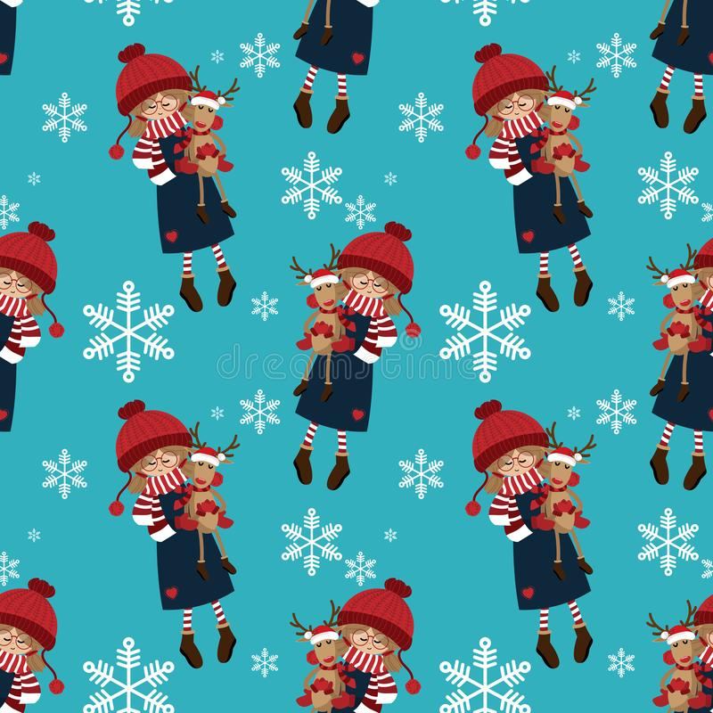 Nahtloses Muster der Weihnachtsferienzeit mit nettem Mädchen in der Wintergewohnheit mit netter Renpuppe mit Sankt-Hut vektor abbildung