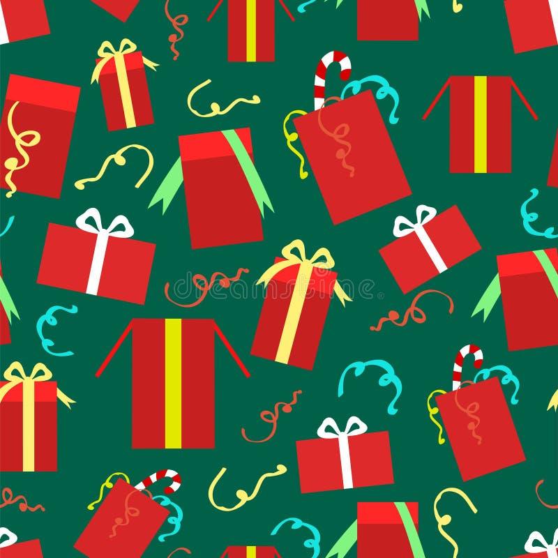 Nahtloses Muster der Weihnachtsgeschenkboxen lizenzfreie abbildung